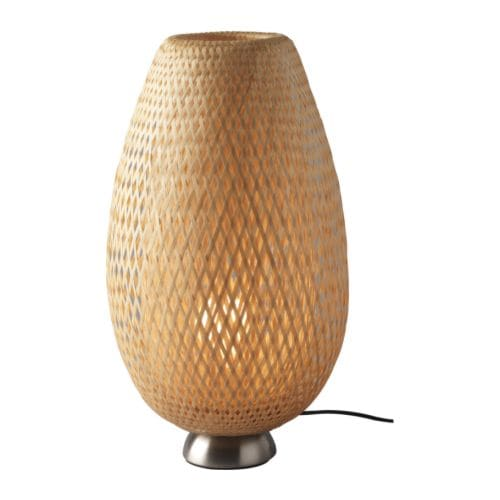 BÖJA Table lamp with LED bulb, nickel plated, rattan bamboo