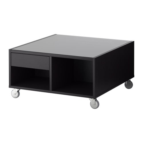 Boksel coffee table black brown ikea for Table extensible ikea bjursta brun noir