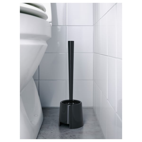 BOLMEN toilet brush/holder black 14 3/8 ""