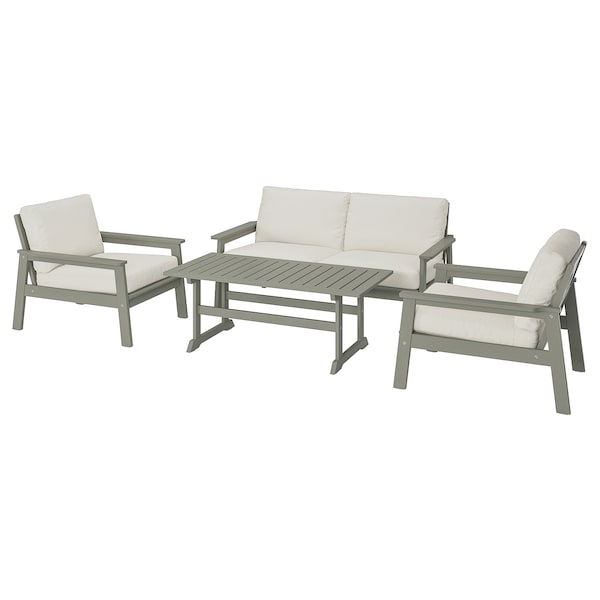 BONDHOLMEN 4-seat conversation set, outdoor gray stained/Frösön/Duvholmen beige