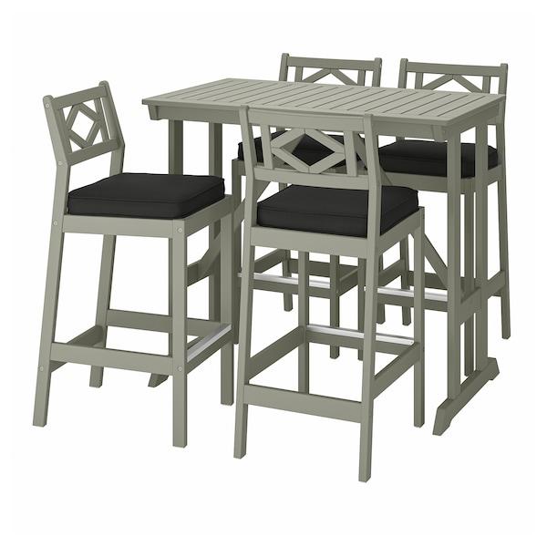 BONDHOLMEN Bar table and 4 bar stools, gray stained/Järpön/Duvholmen anthracite