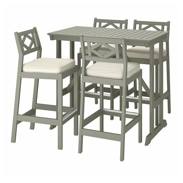 BONDHOLMEN Bar table and 4 bar stools, gray stained/Järpön/Duvholmen white