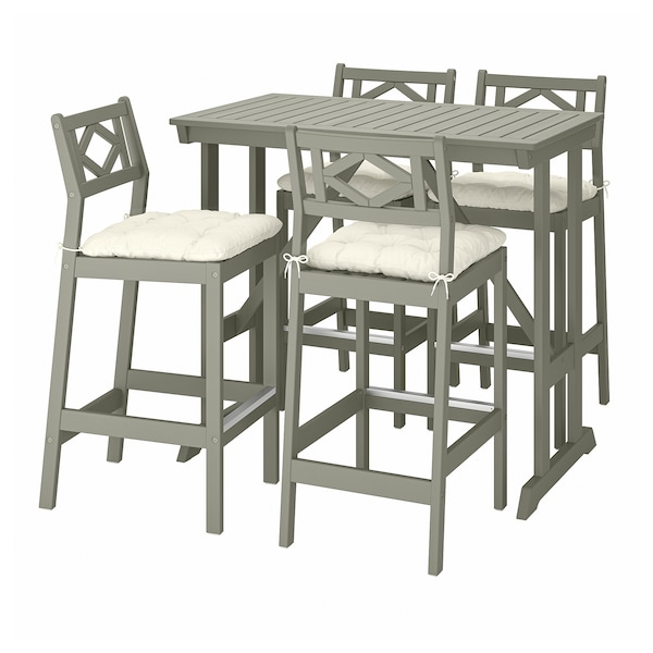 BONDHOLMEN Bar table and 4 bar stools, gray stained/Kuddarna beige