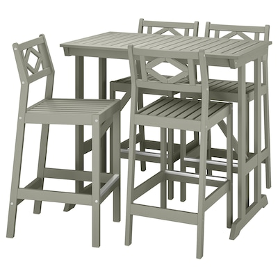 BONDHOLMEN Bar table and 4 bar stools, gray stained