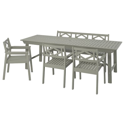 BONDHOLMEN Table, 3 armchairs + bench, outdoor, gray stained