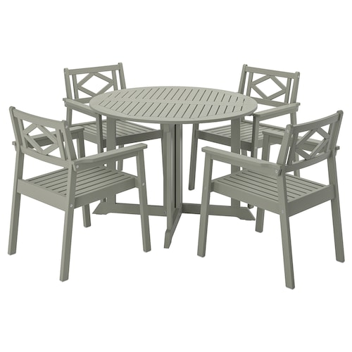 BONDHOLMEN table and 4 armchairs, outdoor gray stained