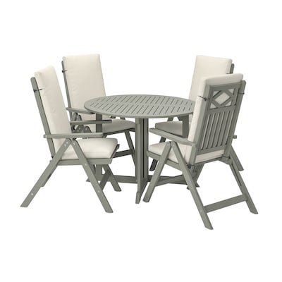 BONDHOLMEN Table + 4 reclining chairs, outdoor, gray stained/Frösön/Duvholmen beige