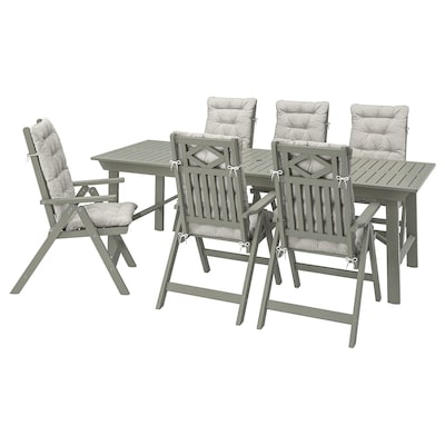 BONDHOLMEN Table + 6 reclining chairs, outdoor, gray stained/Kuddarna gray