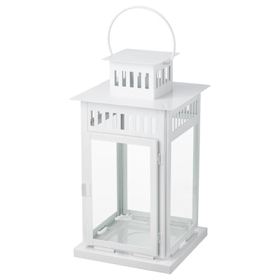 """BORRBY Lantern for block candle, indoor/outdoor white, 17 ¼ """""""