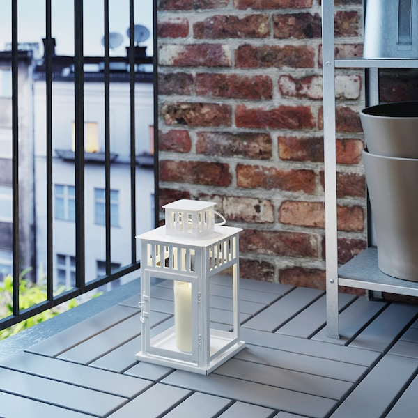 """BORRBY Lantern for block candle, indoor/outdoor white, 11 """""""