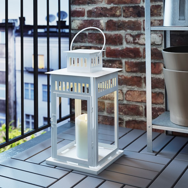 BORRBY Lantern for block candle, indoor/outdoor white, 17 ¼ ""