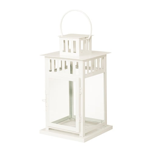 BORRBY Lantern for block candle, white indoor/outdoor white