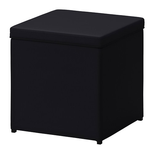 BOSNÄS Footstool with storage - Ransta black - IKEA