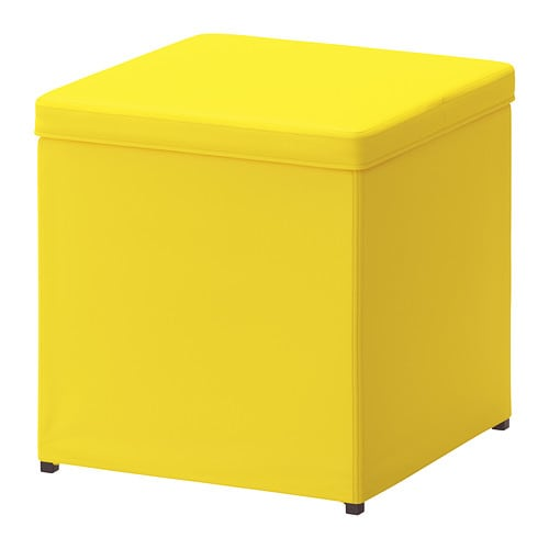 BOSNÄS Footstool with storage - Ransta yellow - IKEA
