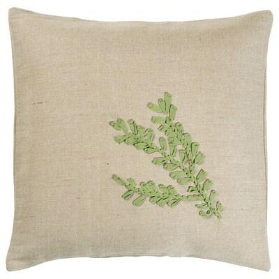 """BOTANISK cushion cover beige leaf/green handmade 20 """" 20 """""""