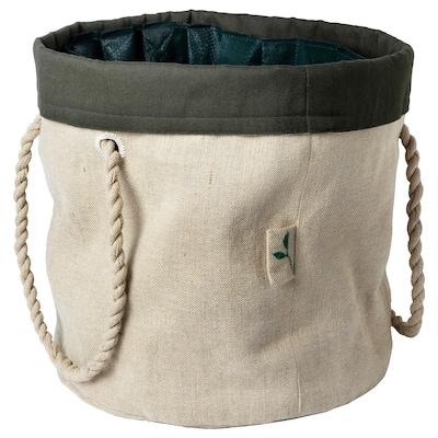 """BOTANISK gardening bag beige/dark green handmade 14 ¼ """" 14 ¼ """" 12 ½ """""""