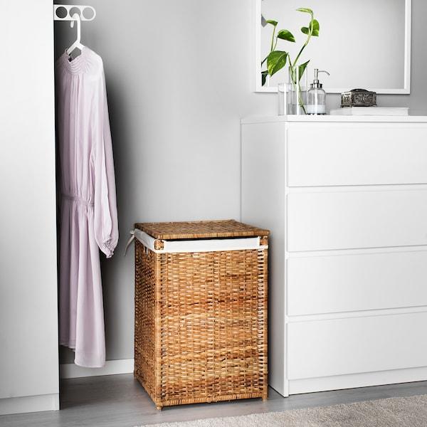 "BRANÄS laundry basket with lining rattan 16 1/8 "" 16 1/8 "" 23 5/8 "" 21 gallon"