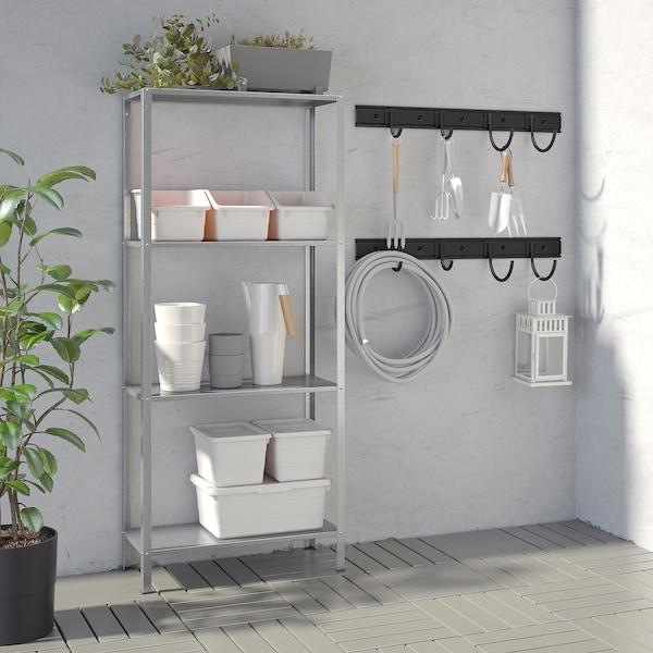 IKEA BRANDUR / HYLLIS Shelving unit w 2 rails/8 hooks