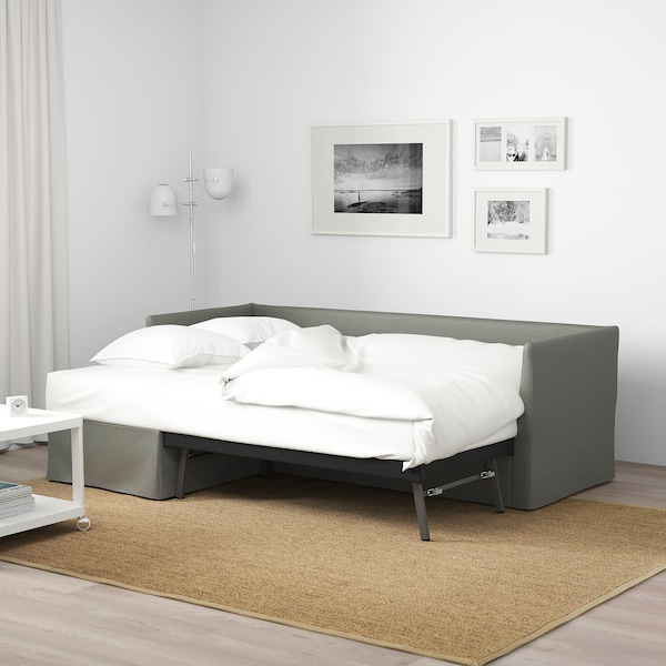 BRÅTHULT Sleeper sectional, 3-seat, Borred gray-green