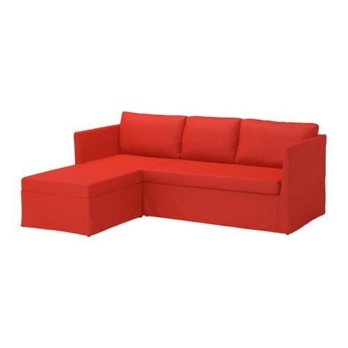 BRÅTHULT Sleeper sectional, 3-seat - Vissle red/orange - IKEA