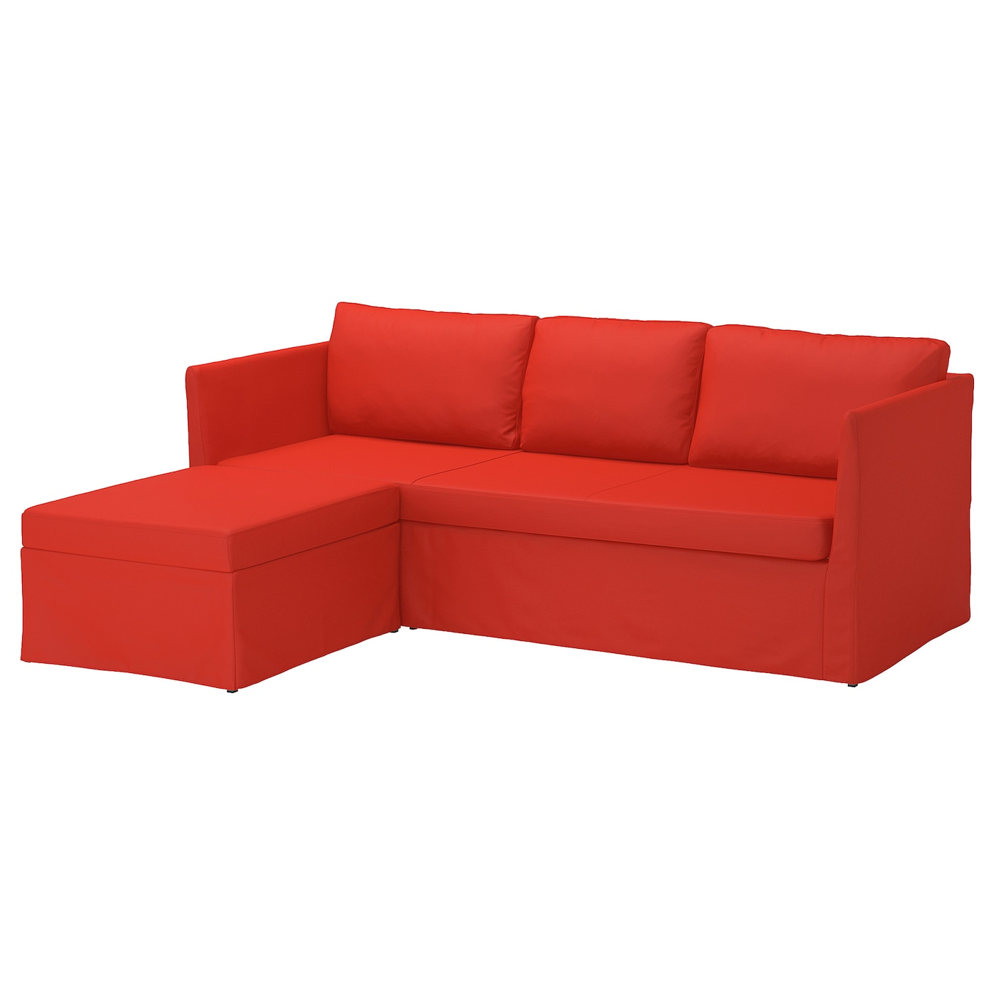 BRÅTHULT Sleeper sectional, 3-seat, Vissle red/orange