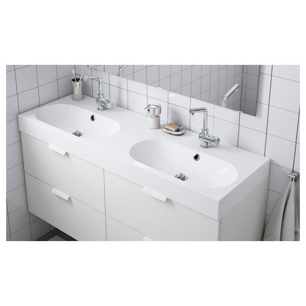 "BRÅVIKEN Double bowl sink, white, 55 1/8x18 7/8x3 7/8 """