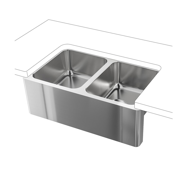 Apron front double bowl sink BREDSJÖN under-glued stainless steel