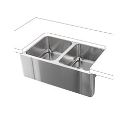 BREDSJÖN apron front double bowl sink, under-glued stainless steel