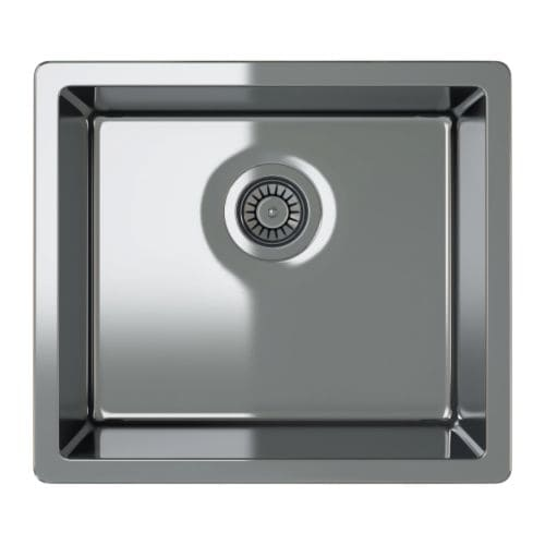 BREDSKÄR Single-bowl inset sink, stainless steel Length: 20 1/2