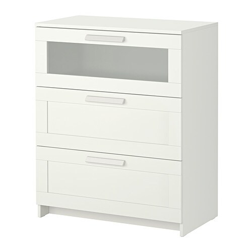 BRIMNES 3 drawer chest IKEA Smooth running drawers with pull-out stop.