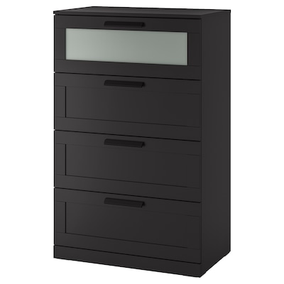 BRIMNES 4-drawer dresser, black/frosted glass, 30 3/4x48 7/8 ""