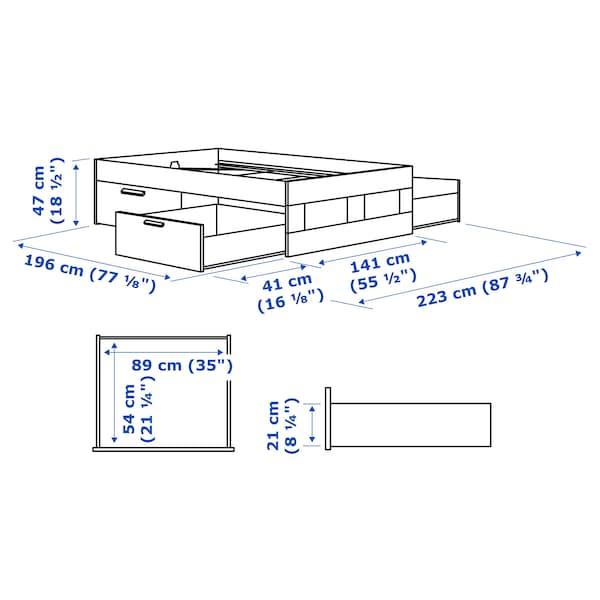 BRIMNES Bed frame with storage, black/Luröy, Full