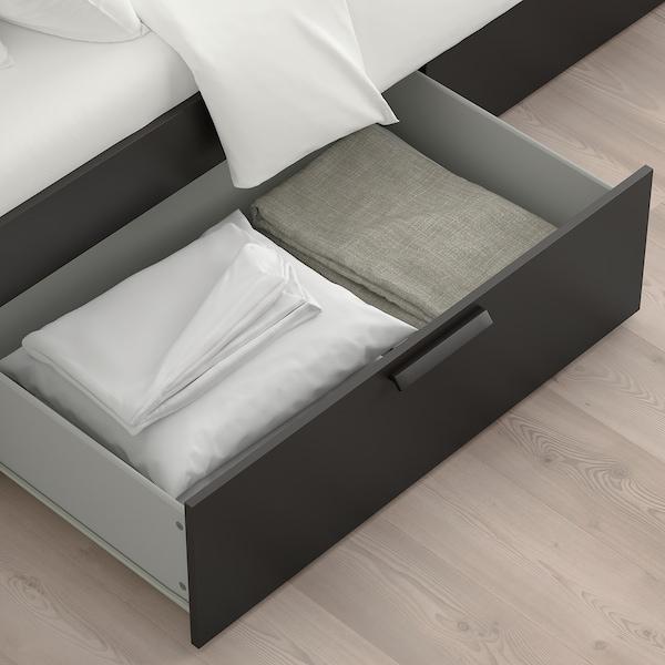 BRIMNES Bed frame with storage, black/Luröy, King