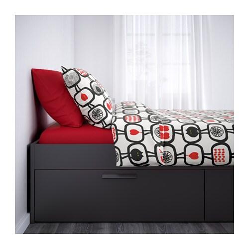 BRIMNES Bed Frame With Storage   Black, Full,     IKEA