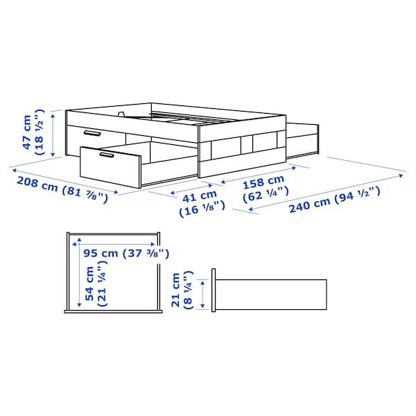 BRIMNES Bed frame with storage, gray/Lönset, Queen