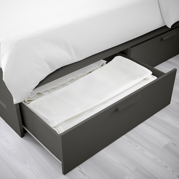 BRIMNES Bed frame with storage, gray/Luröy, King