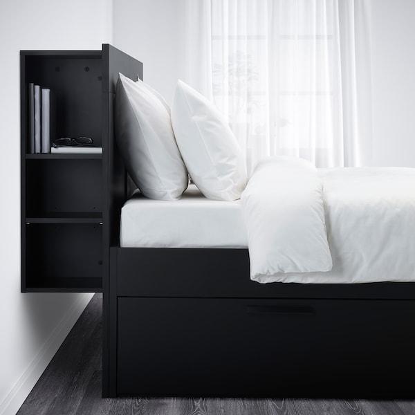 BRIMNES Bed frame with storage & headboard, black/Luröy, Queen
