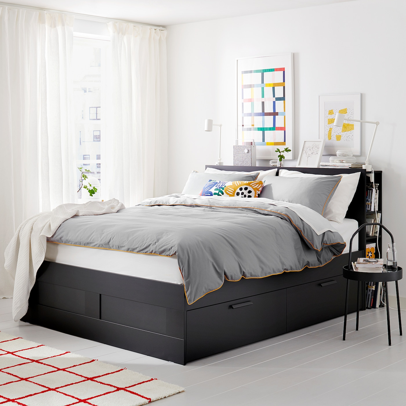 Brimnes Bed Frame With Storage Headboard Black Queen Ikea