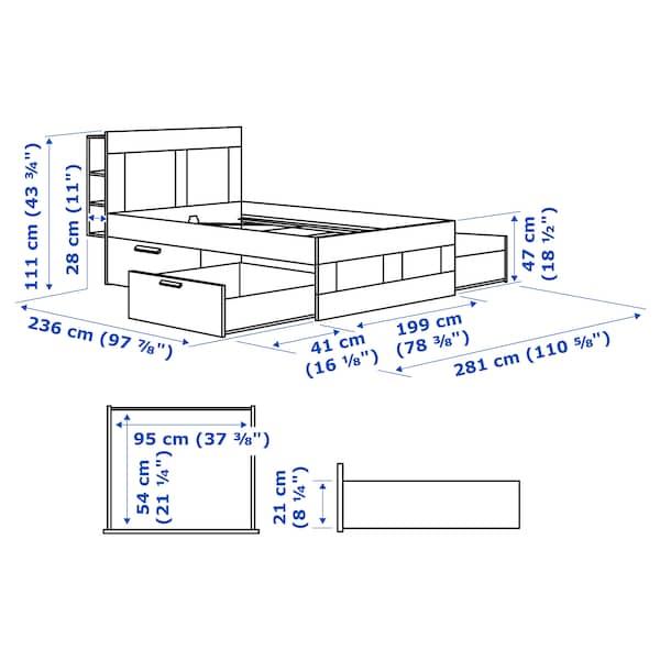 BRIMNES Bed frame with storage & headboard, gray/Luröy, King