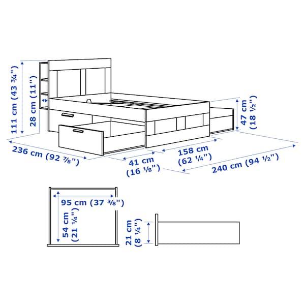 BRIMNES Bed frame with storage & headboard, gray/Luröy, Queen