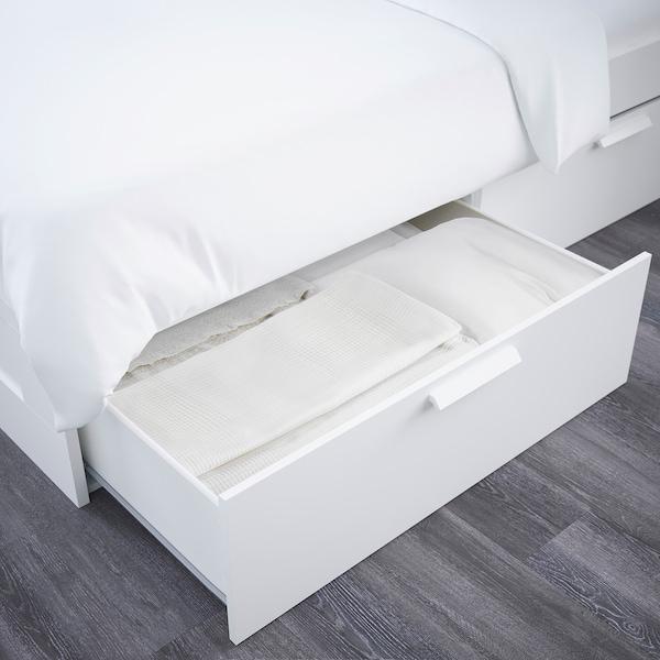 BRIMNES Bed frame with storage & headboard, white/Lönset, Queen