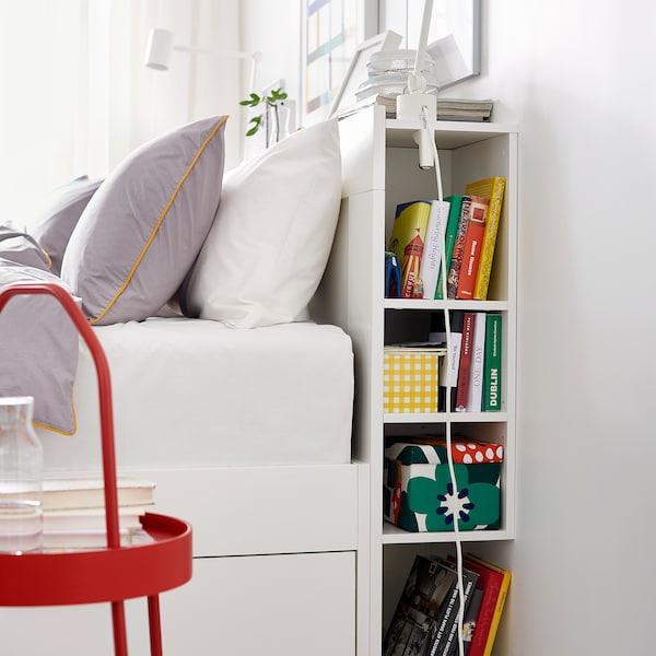 BRIMNES Bed frame with storage & headboard, white/Luröy, Queen
