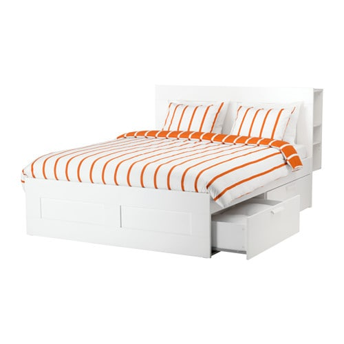 BRIMNES Bed frame with storage & headboard, white, Luröy Queen Luröy white