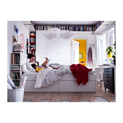 BRIMNES Bed frame with storage & headboard - Queen, -, black - IKEA