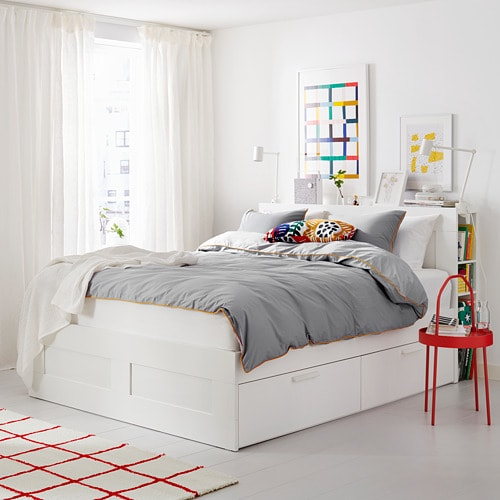 BRIMNES Bed frame with storage & headboard IKEA The 4 integrated drawers give you extra storage space under the bed.