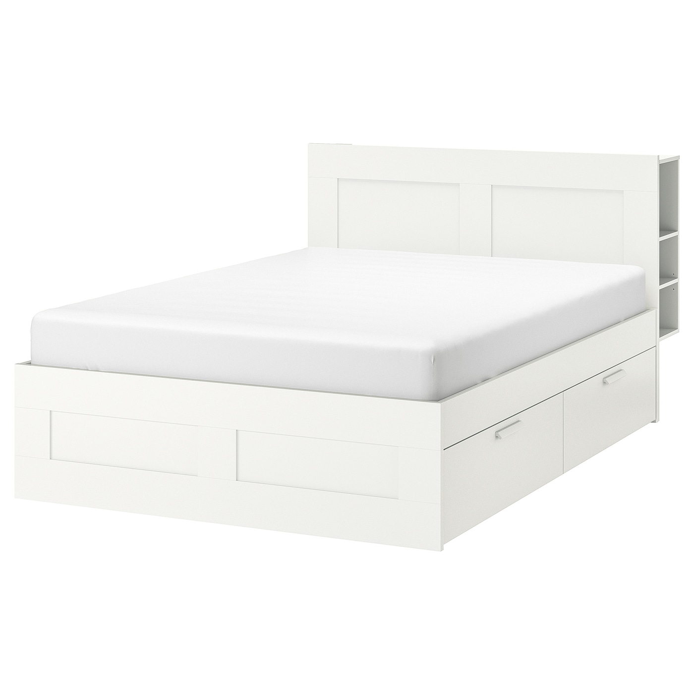 Brimnes Bed Frame With Storage Headboard White Queen Ikea