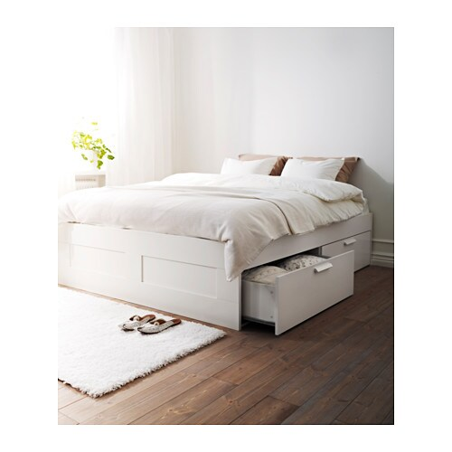 Brimnes Bed Frame With Storage Queen White Ikea