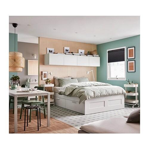 BRIMNES Bed Frame With Storage White Lur Y