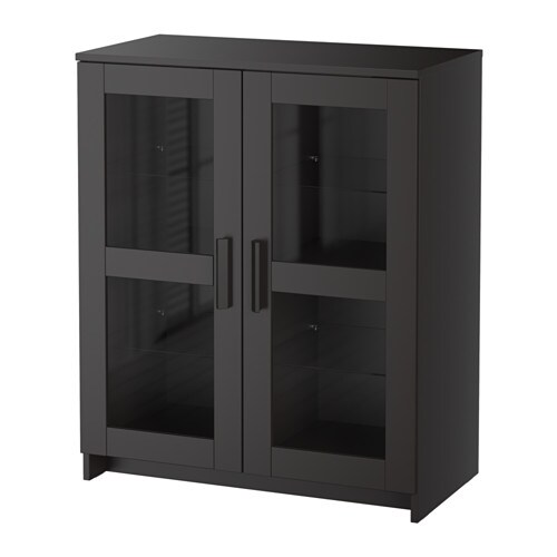 brimnes cabinet with doors glass black ikea. Black Bedroom Furniture Sets. Home Design Ideas