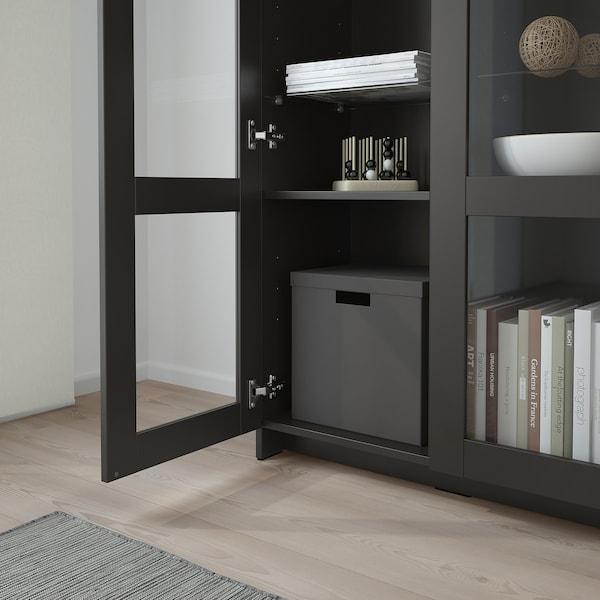 """BRIMNES Cabinet with doors, glass/black, 30 3/4x37 3/8 """""""